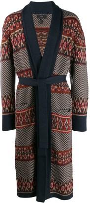 Alanui Fair Isle belted long cardigan