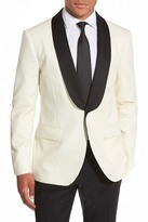 Bonobos Ivory Woven Two Button Shawl Lapel Wool Trim Fit Jacket