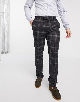 ASOS DESIGN wedding slim suit pants in wool mix with window check in brown
