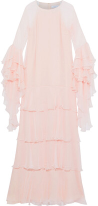 Andrew Gn Tiered Ruffled Silk-georgette Gown