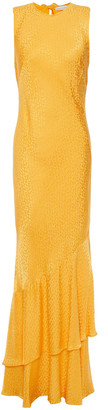 Rebecca Vallance Isobella Ruffled Leopard Satin-jacquard Maxi Dress