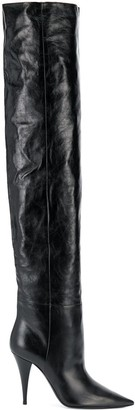 Saint Laurent thigh-high pointed toe boots