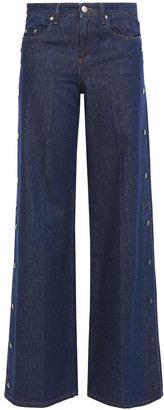 RED Valentino Snap-detailed Mid-rise Wide-leg Jeans