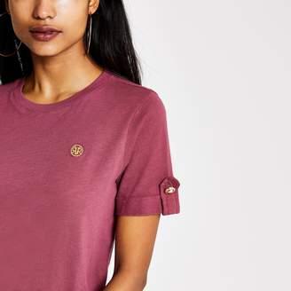 River Island Womens Petite dark Pink RI rolled sleeve T-shirt