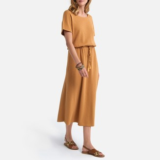 La Redoute Collections Cotton Midi Dress with Crew-Neck and Short Sleeves