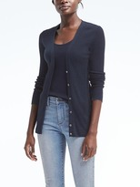 Banana Republic Silk Cashmere Ribbed Boyfriend Cardigan