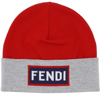 Fendi Logo Intarsia Virgin Wool Hat
