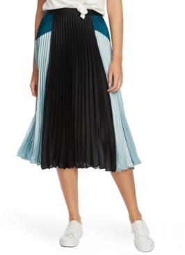 1 STATE 1.state Colorblocked Pleated Midi Skirt