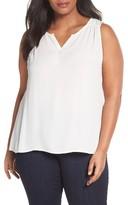 Sejour Plus Size Women's Split Neck Shell