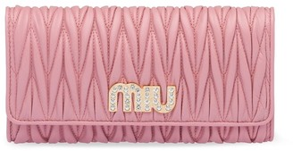Miu Miu Matelasse Leather Flap Wallet
