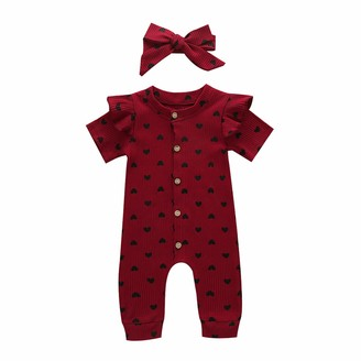 squarex 2PCS Infant Baby Girls Valentines Day Hearts Print Ruffles Romper Jumpsuit+Headbands Romper Jumpsuit T-Shirt Floral Shorts with Headband Infant Bodysuit Outfits /& Clothing Sets 3-18M