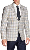 Hickey Freeman Checkered Two Button Notch Lapel Classic Fit Sport Coat
