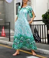 Reborn Collection Women's Maxi Dresses Light - Light Blue & Green Floral Petal-Sleeve Maxi Dress - Women & Plus