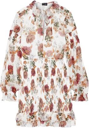 Nicholas Shirred Floral-print Silk-chiffon Mini Dress