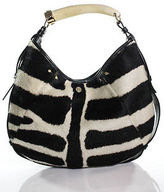 Saint Laurent Pony Hair Zebra Stripe Mombasa Hobo Tote Handbag