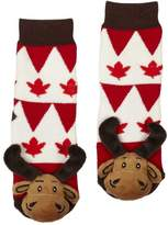 Creature Comforts Lil Traveller Baby Socks Canada Day Moose With Rubber Tread