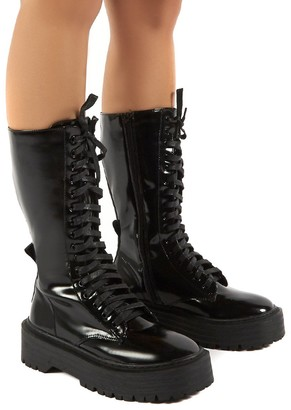 Public Desire Uk Kendall Smooth PU Lace Up Chunky Knee High Boots