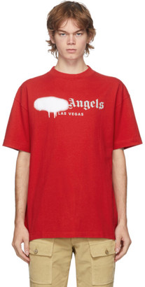 Palm Angels Red and White Las Vegas Logo Sprayed T-Shirt