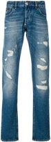 Philipp Plein denim ripped straight jeans