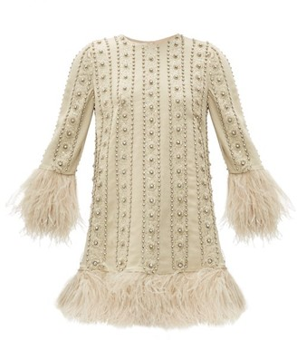 Valentino Crystal & Feather Embroidered Silk Crepe Dress - Womens - Ivory Multi