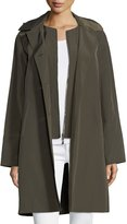Jane Post Button-Front Long-Sleeve Twill Midi Rain Coat w/ Bib