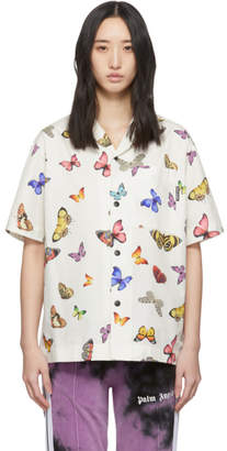 Palm Angels White and Multicolor Butterflies Bowling Shirt