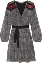 Diane von Furstenberg Bianka Pleated Printed Georgette Wrap Dress - Black