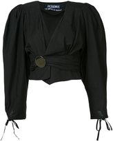Jacquemus draped cropped blouse - women - Cotton - 34