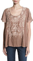 Johnny Was Saskla Flutter-Sleeve Embroidered Velvet Top