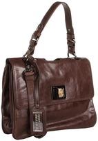 Badgley Mischka Claire Shine Handbag w/ Flap (Smoke) - Bags and Luggage