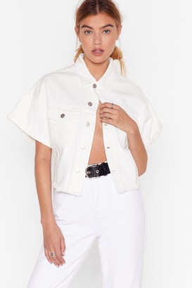 Nasty Gal Womens Wash is Going On Cropped Denim Jacket - White - 6
