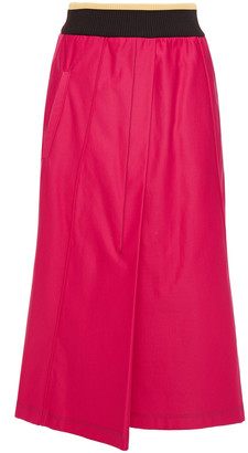 Marni Appliqued Wrap-effect Jersey Midi Skirt