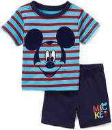 Children's Apparel Network Mickey Mouse Blue Stripe Crewneck Tee & Navy Shorts - Infant