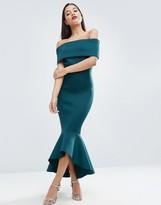 Asos PREMIUM Deep Fold Peplum Midi Dress