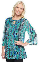 As Is Susan Graver Printed Chiffon 3/4 Bell Sleeve Top