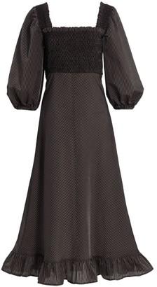 Ganni Seersucker Puff-Sleeve Midi Dress