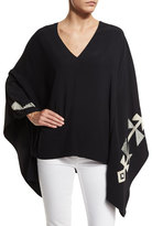 Ralph Lauren Embroidered Cady Poncho Top, Black