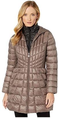 Bernardo Fashions EcoPlume Bib Hooded Walker Puffer Coat (Antique Silver) Women's Jacket