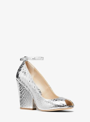 Michael Kors Julianne Metallic Python-Embossed Leather Peep-Toe Pump