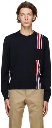 Thom Browne Navy Merino Wool Intarsia RWB Sweater