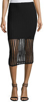 KENDALL + KYLIE Lattice Jersey Midi Skirt, Black