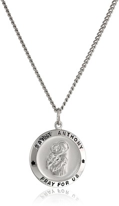 Amazon Collection Sterling Silver Round Saint Anthony Pendant Necklace with Rhodium Plated Stainless Steel Chain 20""