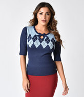 short sleeve navy blue sweater - ShopStyle