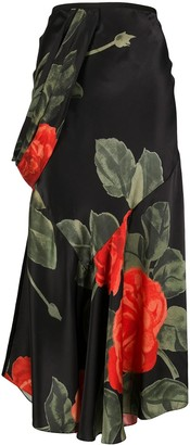 Simone Rocha Draped Floral Long Skirt