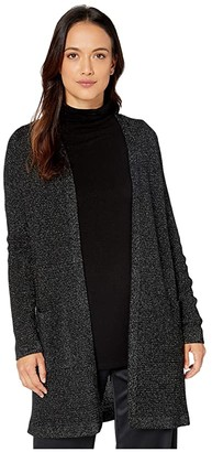 Eileen Fisher Petite Merino Sparkle Straight Long Cardigan (Black) Women's Clothing