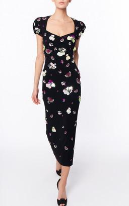 Jenny Packham Double Date Embellished Crepe Dress