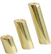 Global Views DwellStudio Set of 3 Slanted Candleholders in Brass