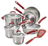 Rachael Ray Stainless Steel 11 piece Cookware Set - Red Handles