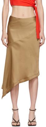 Helmut Lang Tan Satin Scarf Slip Skirt