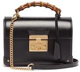 Gucci Padlock Bamboo-handle Leather Handbag - Womens - Black